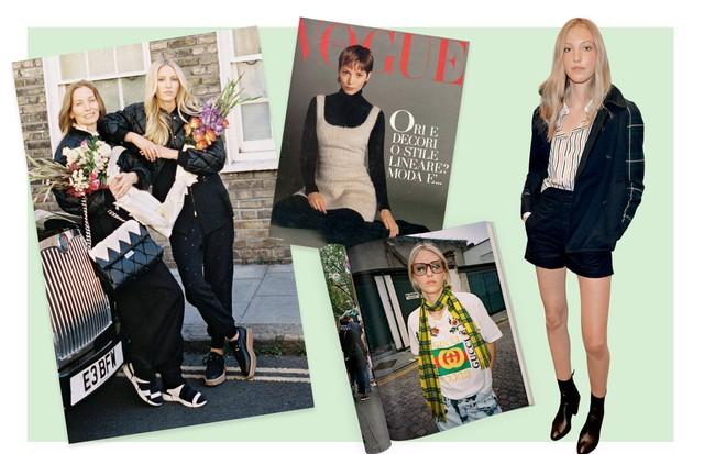 Da esquerda para a direita: Lucie com a filha Ella em fotos para a grife Stella McCartney, Lucie em capa da Vogue italiana de 1992. Abaixo, Ella em editorial para esta Vogue, em novembro passado. (Foto: Gettyimages, Reprodução Instagram e Divulgação)