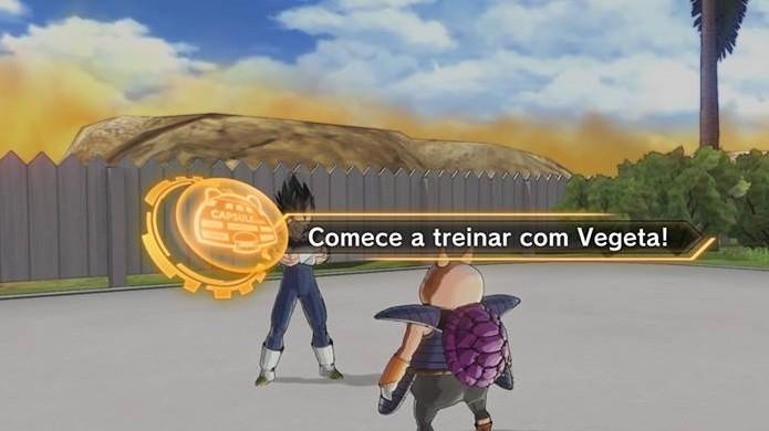 Dragon Ball Xenoverse 2: fale com Vegeta no canto esquerdo da área (Foto: Reprodução / Thomas Schulze)