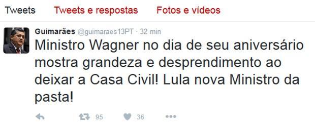 Líder do governo na Câmara, José Guimarães (PT-CE), diz que Lula é novo ministro da Casa Civil