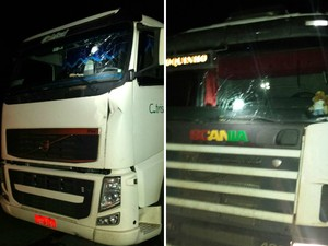 Mais de 20 caminhões foram apedrejados na BR-386, em Soledade (Foto: Divulgação/PRF)