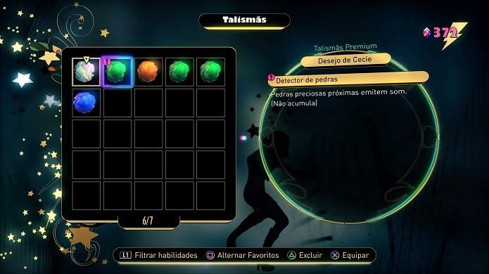 Gravity Rush 2: é permitido apenas um talismã por slot (Foto: Reprodução/Victor Teixeira)