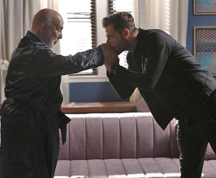 Dom Peppino e Gabo tramam contra Grego e Benjamin (Foto: Raphael Dias/Gshow)