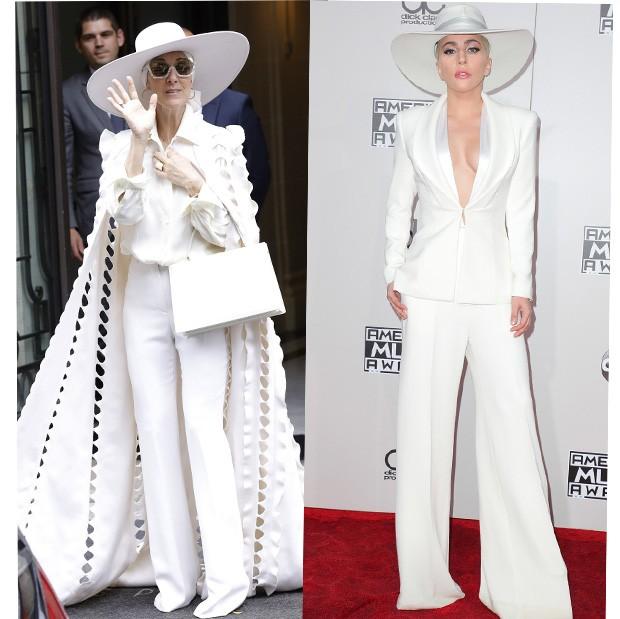 Céline Dion com look all white bem parecido com o de Lady Gaga (Foto: AKM Images)