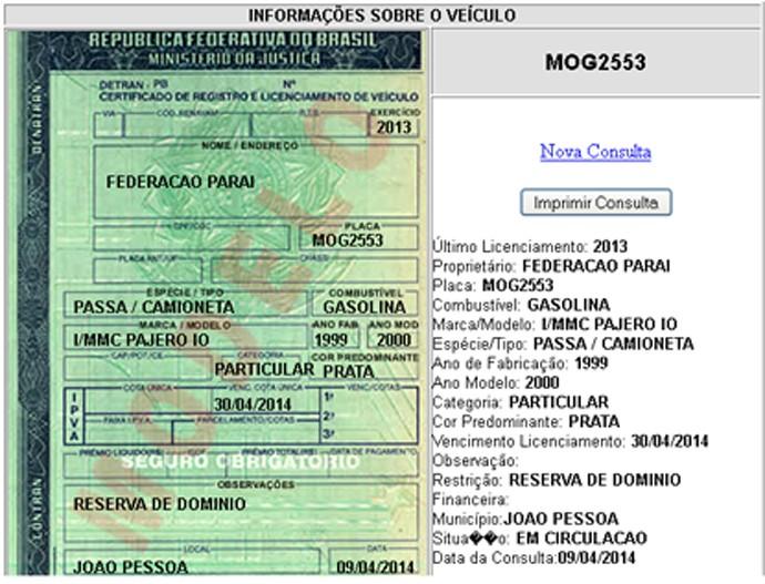 Documento da Pajero da Federação Paraibana de Futebol, utilizada pela gestão de Rosilene Gomes (Foto: Reprodução / Detran-PB)
