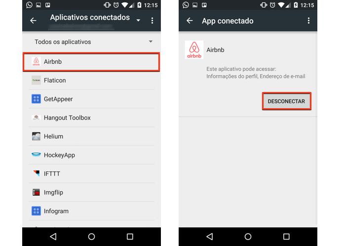Selecione um app ou serviço e desconecte da sua conta (Foto: Reprodução/Paulo Alves)
