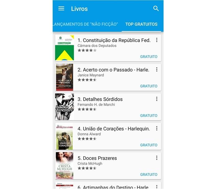 No Google Play, há diversos livros gratuitos (Foto: Reprodução/Lívia Dâmaso)