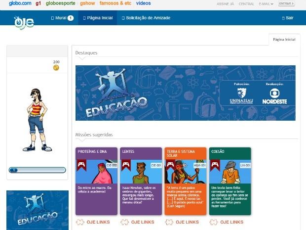 Página Inicial do aluno na OJE, onde são sugeridas missões e atividades. (Foto: Reprodução)