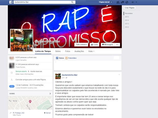 Post do Quitandinha em que bar pede desculpas (Foto: Reprodução/Facebook)