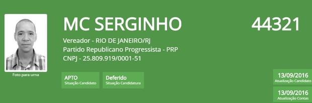 MC Serginho (Foto: Reprodução/TSE)
