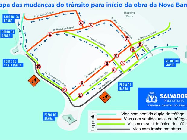 Mapa com as alterações no trânsito da Barra, em Salvador (Foto: Divulgação/Prefeitura)