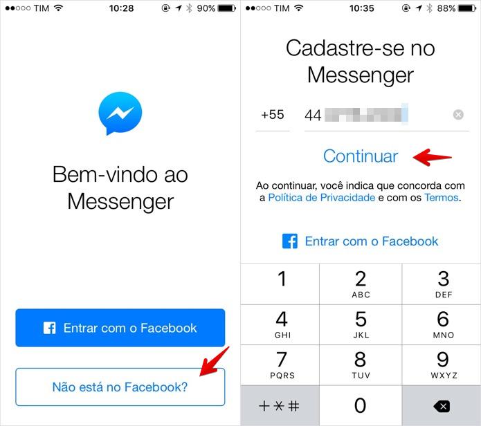 Criando uma conta no Facebook Messenger (Foto: Reprodução/Helito Bijora)