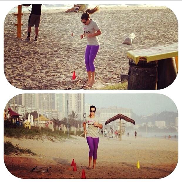 Fernanda Souza: corridinha na areia para manter a forma (Foto: Reprodução)
