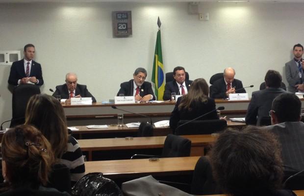 O ex-presidente da Petrobras José Sérgio Gabrielli em depoimento à CPI no Senado (Foto: Priscilla Mendes / G1)