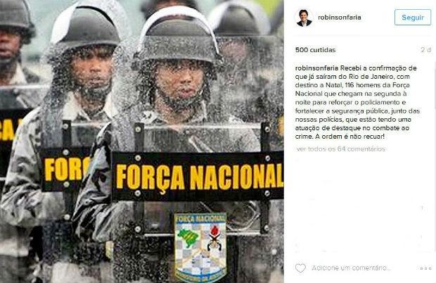 Governador anunciou chegada da Força Nacional pelo Instagram (Foto: Reprodução/Instagram)