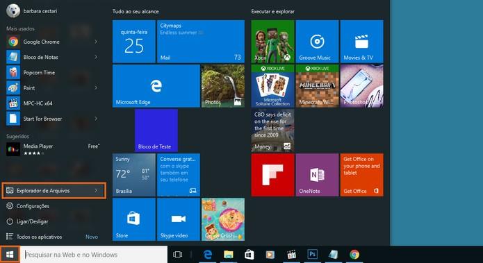 Abra o explorador de arquivos no menu iniciar do Windows  (Foto: Reprodução/Barbara Mannara)