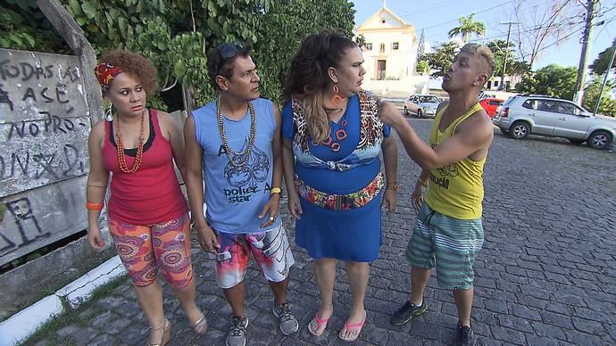 Fabíola, Dedé do Beco, Marizete e Paulo Márcio em cena (Foto: TV Bahia)