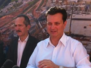 O ministro dos Esportes, Aldo Rebelo, e o prefeito de São Paulo, Gilberto Kassab (Foto: Kleber Thomaz/ G1 )