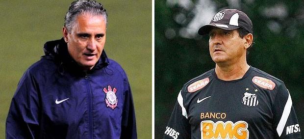 Tite e Muricy, Corinthians x Santos (Foto: Editoria de arte / Globoesporte.com)