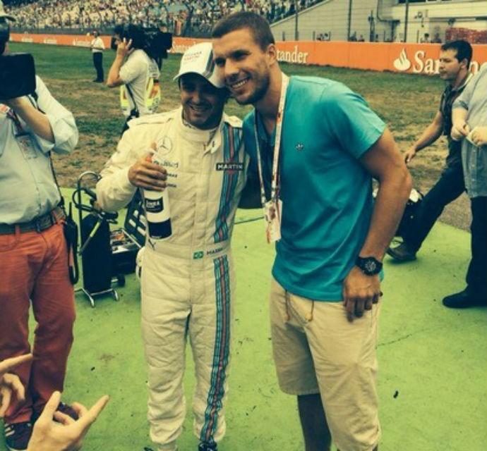 Podolski e Felipe Massa (Foto: Twitter)