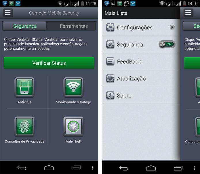 Tela inicial do Comodo Mobile Security (Foto: Reprodução/ Marcela Vaz)