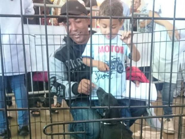 Gevaldo Ferreira Guimarães e o filho Matias se encantaram com o Ringo (Foto: Ana Paula Yabiku/G1)
