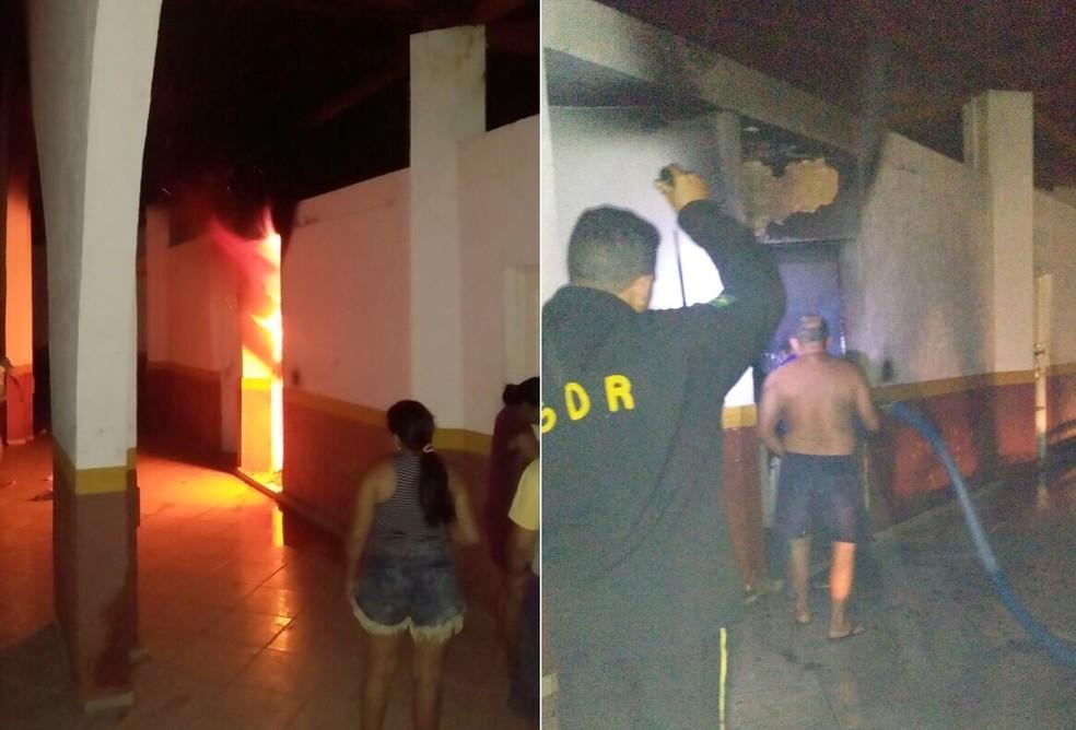 Populares usaram uma mangueira para conter as chamas (Foto: PM/Divulgação)