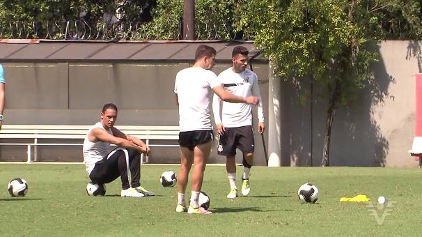 Santos treina para jogar contra o Audax (Foto: Reprodução/TV Tribuna)