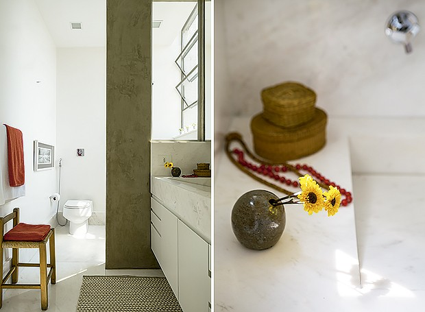 O banheiro é acessado pelo closet da suíte do casal. Tapete da By Kamy. Toalhas de banho da Trousseau | A pia tem bancada de mármore branco pigues da Pedra de Esquina (Foto: Edu Castello/Editora Globo)