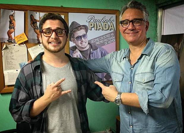 Andrey Lopes e Hubert durante as gravações de 'Procurando Casseta e Planeta' (Foto: Divulgação)