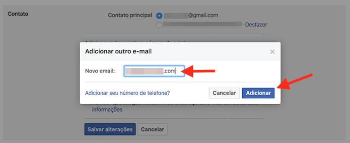 Adicionando um novo e-mail principal em uma conta do Facebook (Foto: Reprodução/Marvin Costa) (Foto: Adicionando um novo e-mail principal em uma conta do Facebook (Foto: Reprodução/Marvin Costa))