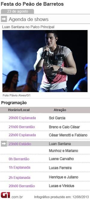 Programação de shows nesta sexta-feira (23) em Barretos (Foto: Arte/G1)