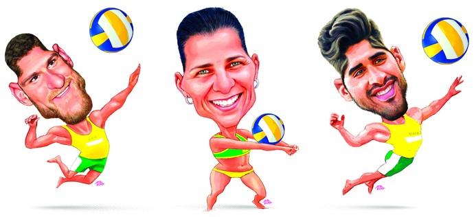 Alison Cerutti, Larissa França e Bruno Schmidt (vôlei de praia) (Foto: Amarildo/Ed. de Artes/A Gazeta)
