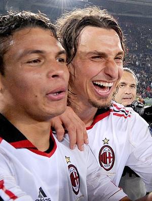 Thiago Silva e Ibrahimovic no Milan (Foto: Getty Images)