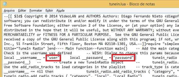 Editando o arquivo tunein.lua com o Bloco de Notas do Windows (Foto: Reprodução/Edivaldo Brito)