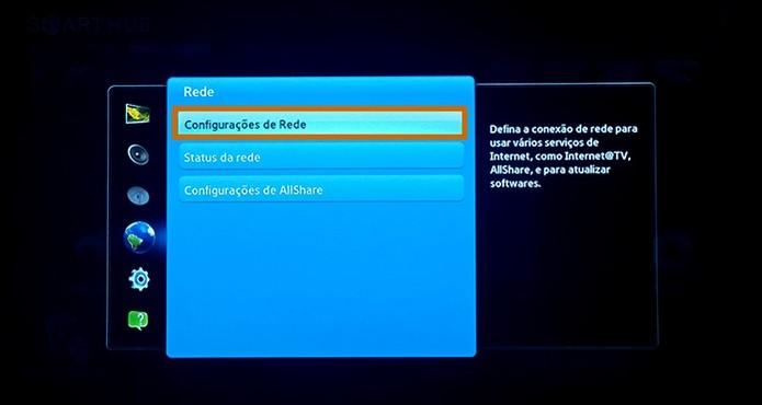 Inicie a configuração da rede com cabo na Smart TV (Foto: Reprodução/Barbara Mannara)