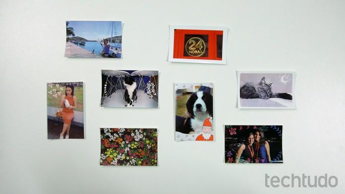 Fotos impressas pela HP Strocket (Foto: Aline Batista/TechTudo)