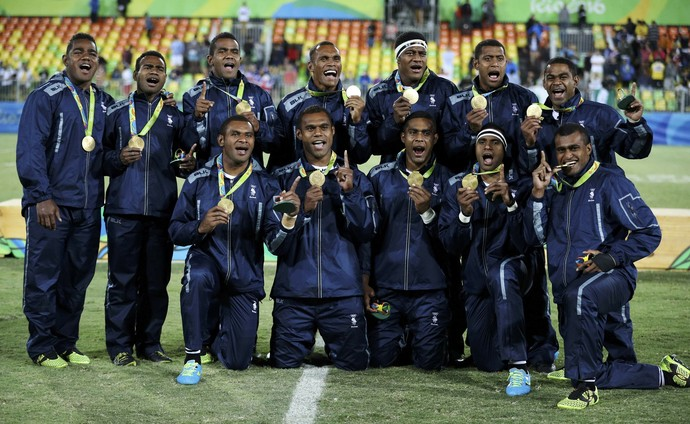 Fiji medalha de ouro no rugby (Foto: REUTERS/Phil Noble)
