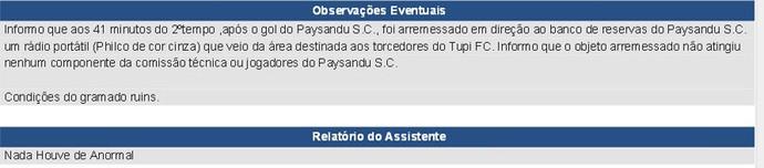 Tupi-MG Paysandu Série C 2014 súmula (Foto: Reprodução)