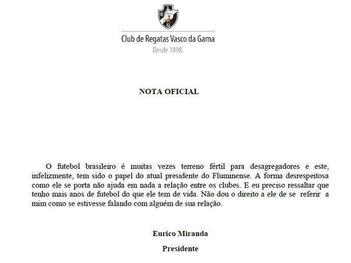 Nota Oficial resposta eurico miranda Vasco para o Fluminense (Foto: Reprodução / Site Oficial do Vasco)