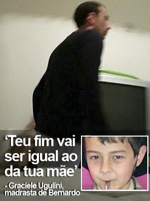 Vídeo mostra pai usando celular para filmar briga com Bernardo (Editoria de Arte/G1)