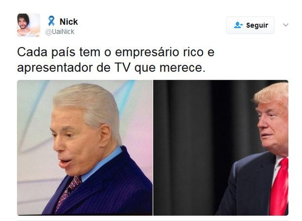 Comentários sobre os cabelos brancos de Silvio Santos (Foto: Twitter / Reprodução)