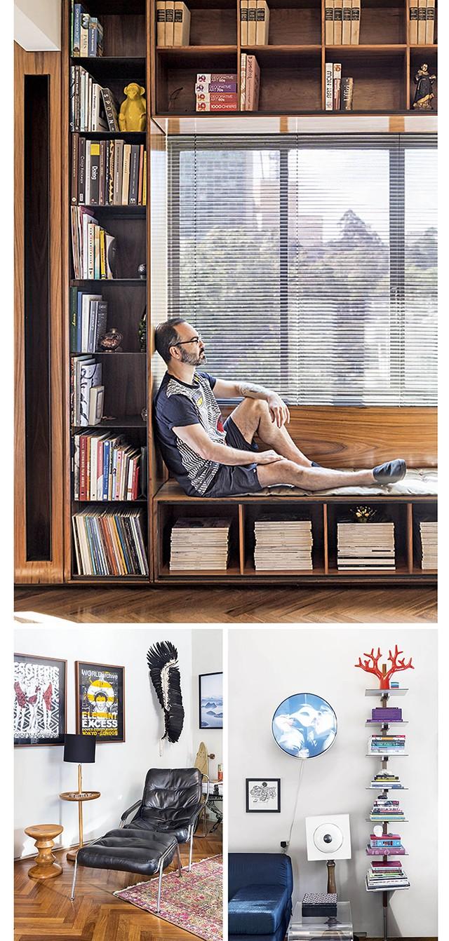 Acima, André na janela da sala. Abaixo, detalhes do escritório do designer (Foto: Pedro Vannucchi)