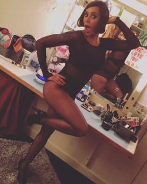 Mel B nos bastidores do musical Chicago em Nova York, nos Estados Unidos (Foto: Instagram/ Reprodução)