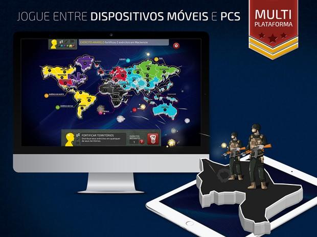 Partidas da versão digital de 'War' podem ser jogadas entre plataformas diferentes. Ou seja, PC x tablet (Foto: Divulgação/Grow)