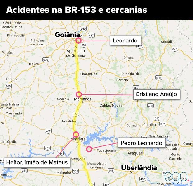 Acidentes na BR-153 e cercanias (Foto: EGO)