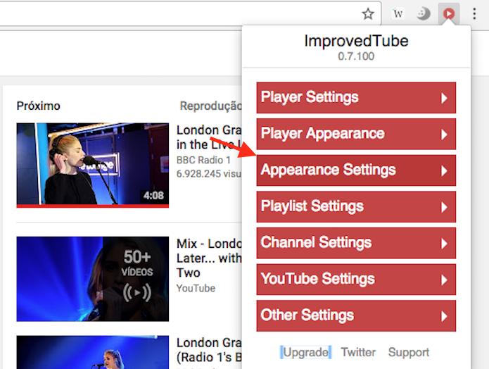 Caminho para acessar as opções para modificação da aparência do YouTube da extensão ImprovedTube (Foto: Reprodução/Marvin Costa)