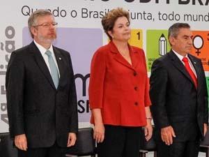 Presidente Dilma Rousseff durante cerimônia de entrega do Prêmio ODM Brasil nesta quarta-feira (30) (Foto: Roberto Stuckert Filho/Presidência da República)