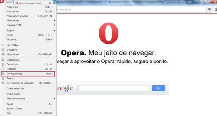 Abra as Configurações do Opera (Foto: Reprodução/Opera)