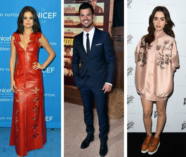 Selena Gomez, Taylor Lautner e Lily Collins (Foto: Getty Images)