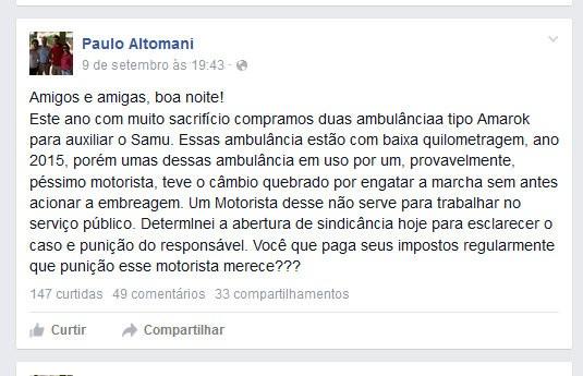 Post aborda problema em ambulância do Samu de São Carlos (Foto: Reprodução/EPTV)